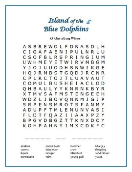 Island of the Blue Dolphins: 5 Word Searches w/ Secret Messages!