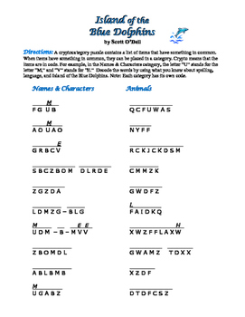 Island of the Blue Dolphins: 8 Cryptocategory Word Puzzles—Unique!
