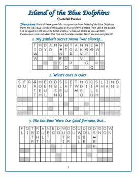 Island of the Blue Dolphins: 9 Quotefall Word Puzzles—Unique!