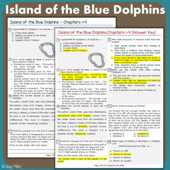 Island of the Blue Dolphins Abridged Novel Study: vocabulary, comprehension