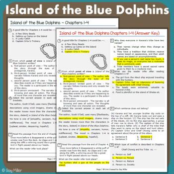Island of the Blue Dolphins Abridged Novel Study: vocabulary, comprehension