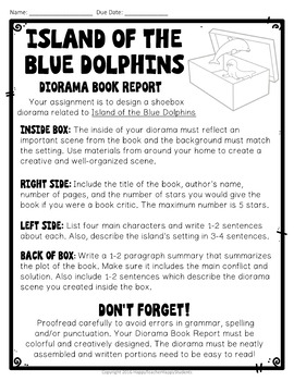 Island of the Blue Dolphins Project: Shoebox Diorama Book Report Activity