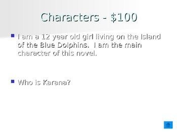 Island of the Blue Dolphins Ch 1 -7 Jeopardy Review