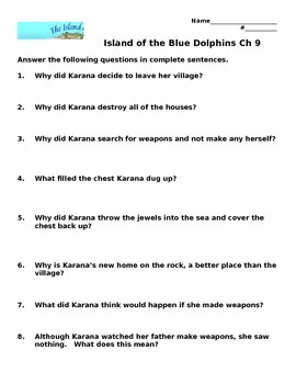 Island of the Blue Dolphins Chapter Comprehension Questions