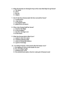 Island of the Blue Dolphins Comprehension Questions
