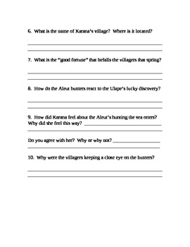 Island of the Blue Dolphins Comprehension Test Ch. 1-3