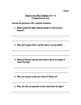 Island of the Blue Dolphins Comprehension Tests