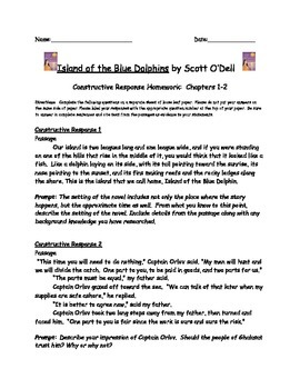 Island of the Blue Dolphins: Constructive Response Chapters 1-2
