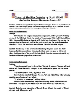 Island of the Blue Dolphins: Constructive Response Chapters 1-29