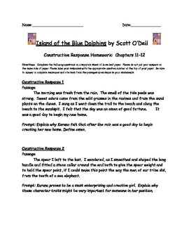 Island of the Blue Dolphins: Constructive Response Chapters 11-12