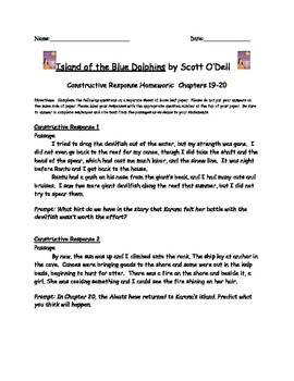 Island of the Blue Dolphins: Constructive Response Chapters 19-20