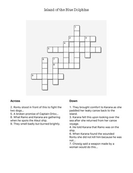 Island of the Blue Dolphins Crossword