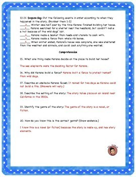 Island of the Blue Dolphins KID FRIENDLY Reading Street Test