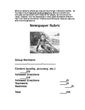 Island of the Blue Dolphins Newspaper Project