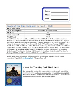 Island of the Blue Dolphins Novel Study Assessment Pack