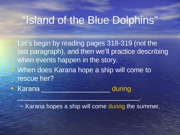 Island of the Blue Dolphins -Open Court Reading - Sequencing