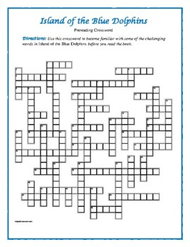 Island of the Blue Dolphins: Prereading Crossword--Pair w/