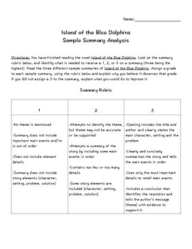 Island of the Blue Dolphins Sample Summary Analysis
