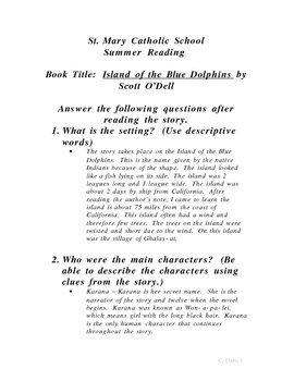 Island of the Blue Dolphins Summer Reading form