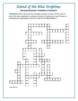 Island of the Blue Dolphins Syn./Ant. Crossword—Pair with Bookmarks Plus!
