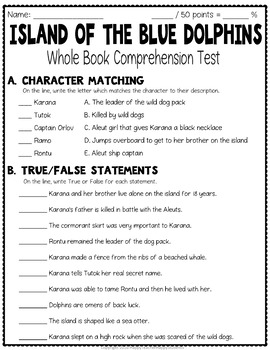 Island of the Blue Dolphins Test: Final Book Test with Answer Key
