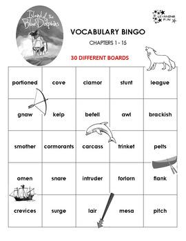 Island of the Blue Dolphins Vocabulary Bingo
