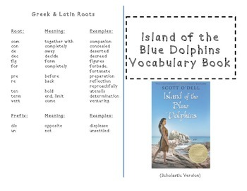 Island of the Blue Dolphins Vocabulary Book
