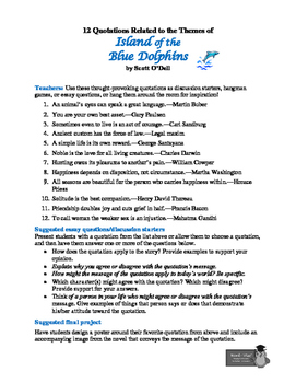 Island of the Blue Dolphins: 12 Theme-Related Quotations+Teaching Ideas