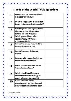 Islands of the World Trivia Questions / Quiz - 20 Questions With Answers
