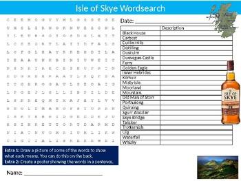 Isle of Skye Wordsearch Sheet Starter Activity Keywords Scotland Geography