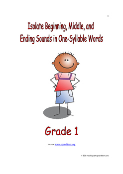Isolate Beginning, Middle, and Ending Sounds in One Syllable Words