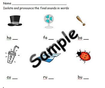 Isolate and Prounounce Final Sounds Assessment