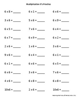 Isolated Math Facts Practice Multiplication 6's