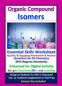 Isomers of Organic Compounds, Structures & Formulas: Essential Skills WkSht #46