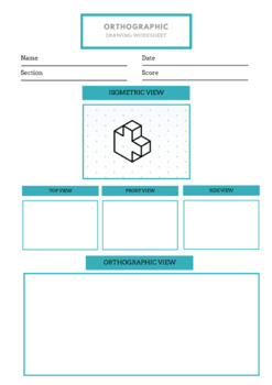 Orthographic Drawing Worksheet   Isometric to Orthographic Drawing Exercises