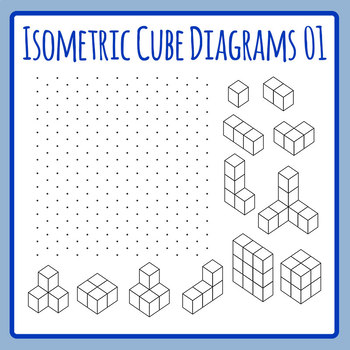 Isometric Cubes - Diagram Learning Tool Clip Art Set for Commercial Use