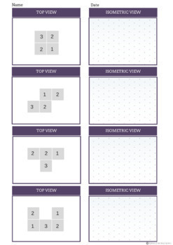 Isometric Cube Stack Drawing Worksheet | 2D to 3D Cube Stack Exercises