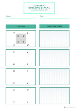 Isometric Rotating Cube Stack Worksheet | 2D to 3D Cube Stack Exercises