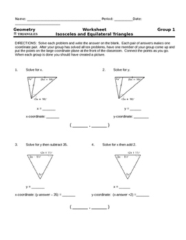 Isosceles & Equilateral Triangles Group Activity - Create a Picture