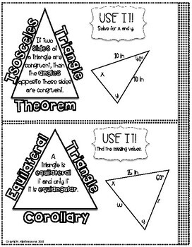 Isosceles Triangle & Equilateral Triangle Doodle Notes or Graphic Organzier