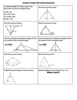 Isosceles Triangle Task Cards