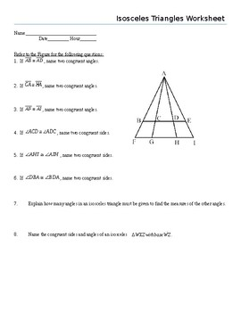 Isosceles Triangles Worksheet by Math With Marie | TpT