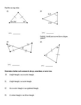 Isosceles Triangles Worksheet
