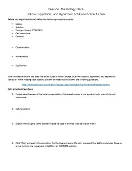 Isotonic, Hypotonic, and Hypertonic Solutions Online Tutorial Worksheet