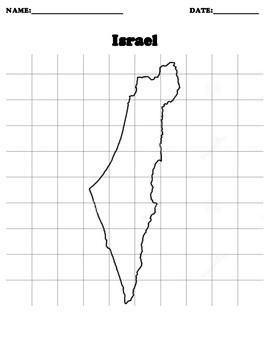 Israel Coordinate Grid Map Blank