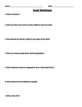 Global 2: Israel Worksheet