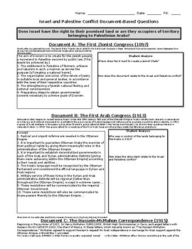 Israel and Palestine Document Based Questions and Essay by Austin ...