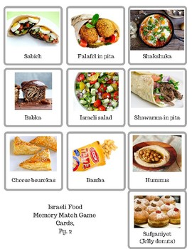 Israeli Foods Memory Match Game