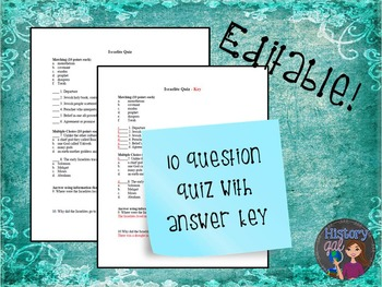 Israelites Quiz {Editable!}