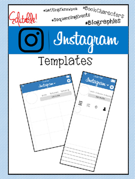 Instagram Templates- Biography, Sequencing, First Day of School